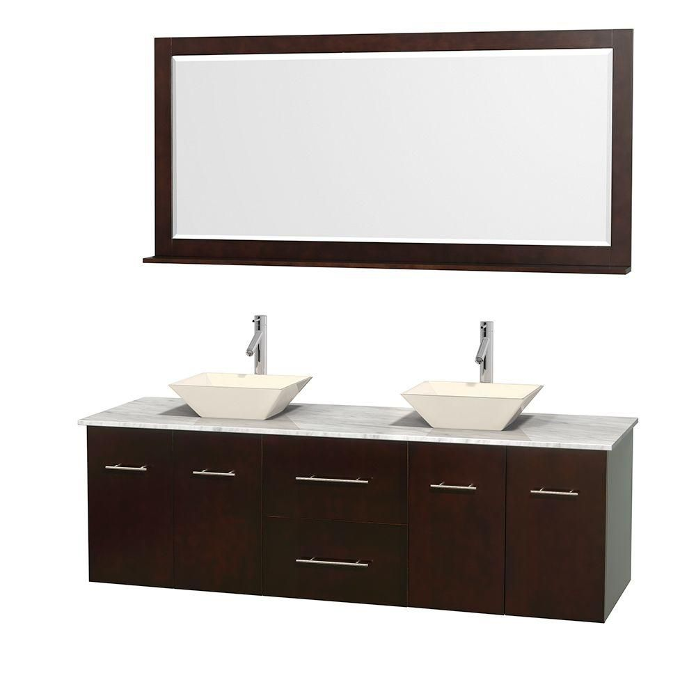 Centra 72-inch W Double Vanity in Espresso with White Top with Bone Basins and Mirror