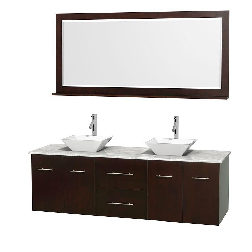 Meuble double Centra 72 po. espresso, comptoir blanc Carrare, lavabos porcelaine blanche, miroir ...