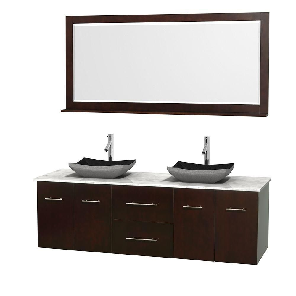 Centra 72-inch W Double Vanity in Espresso with White Top with Black Basins and Mirror