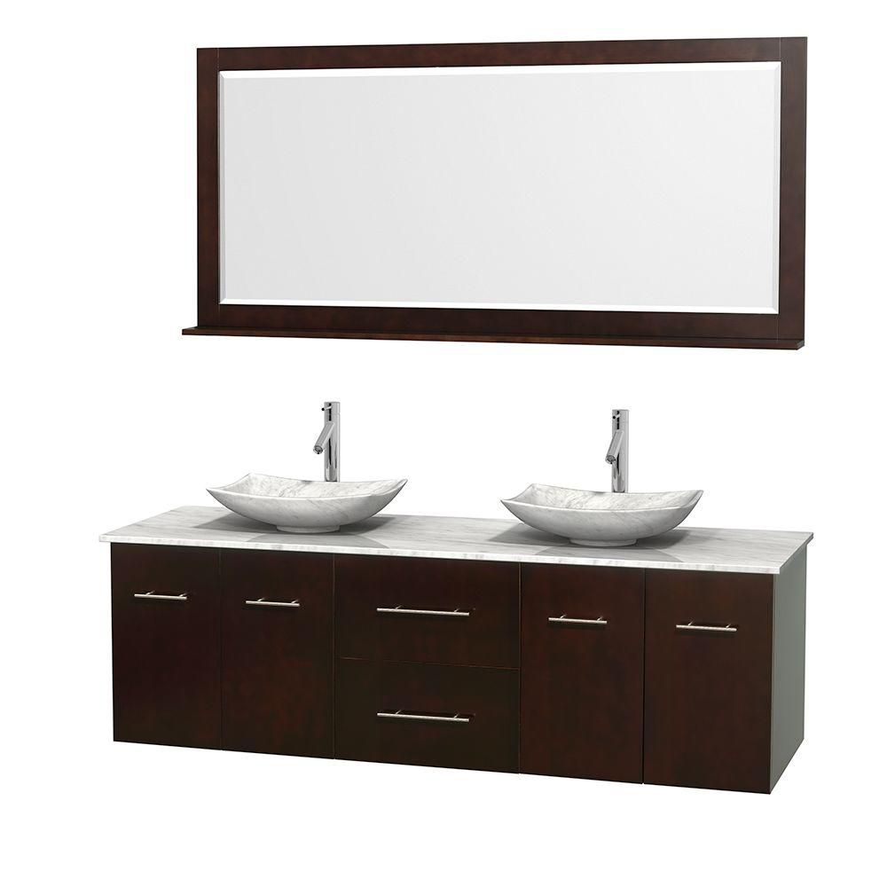 Centra 72-inch W Double Vanity in Espresso with White Top with White Basins and Mirror