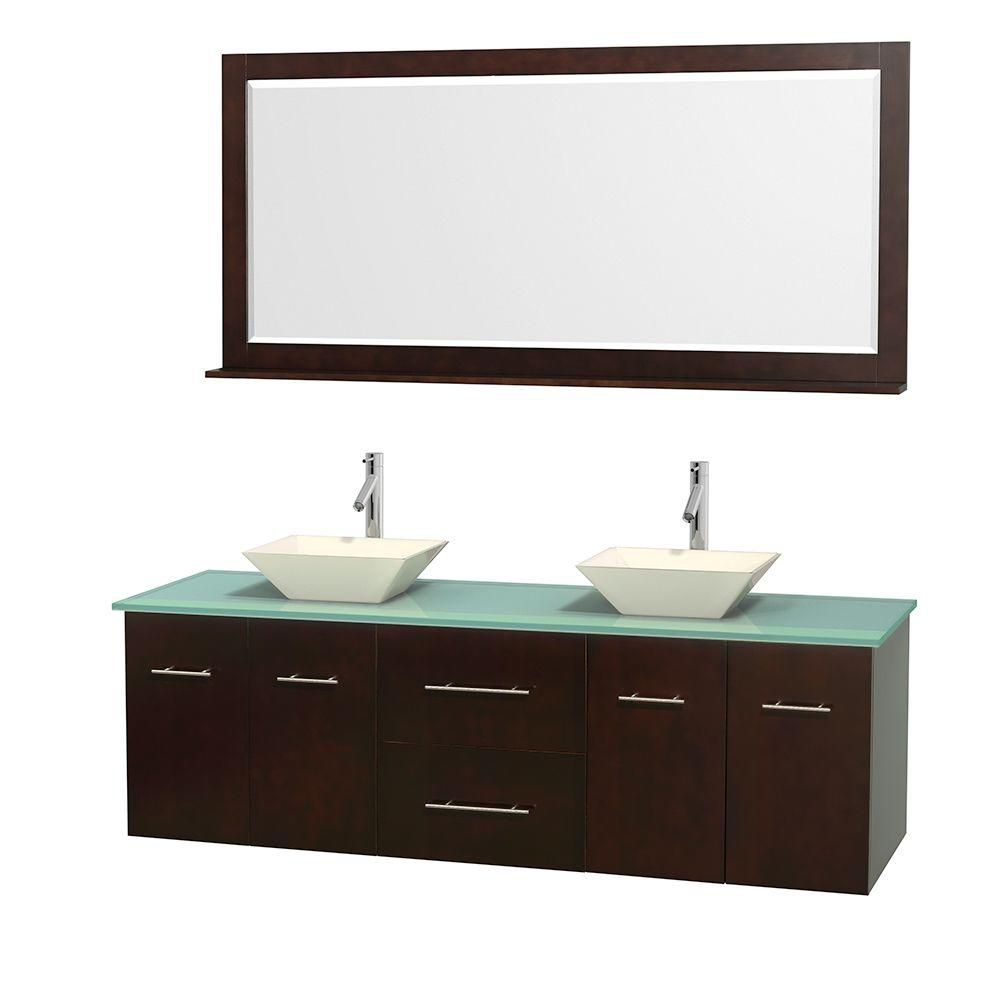 Centra 72-inch W Double Vanity in Espresso with Glass Top with Bone Basins and Mirror