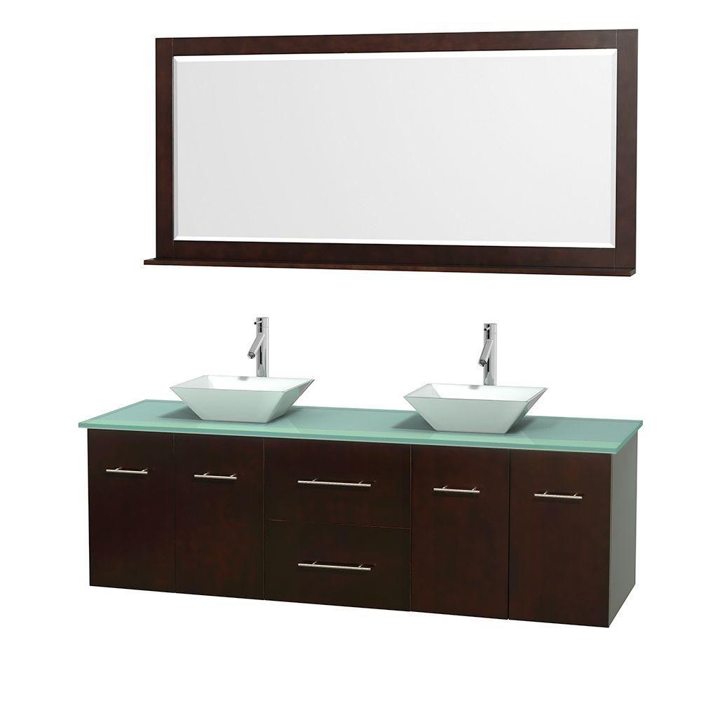 Meuble double Centra 72 po. espresso, comptoir verre vert, lavabos porcelaine blanche, miroir 70 ...