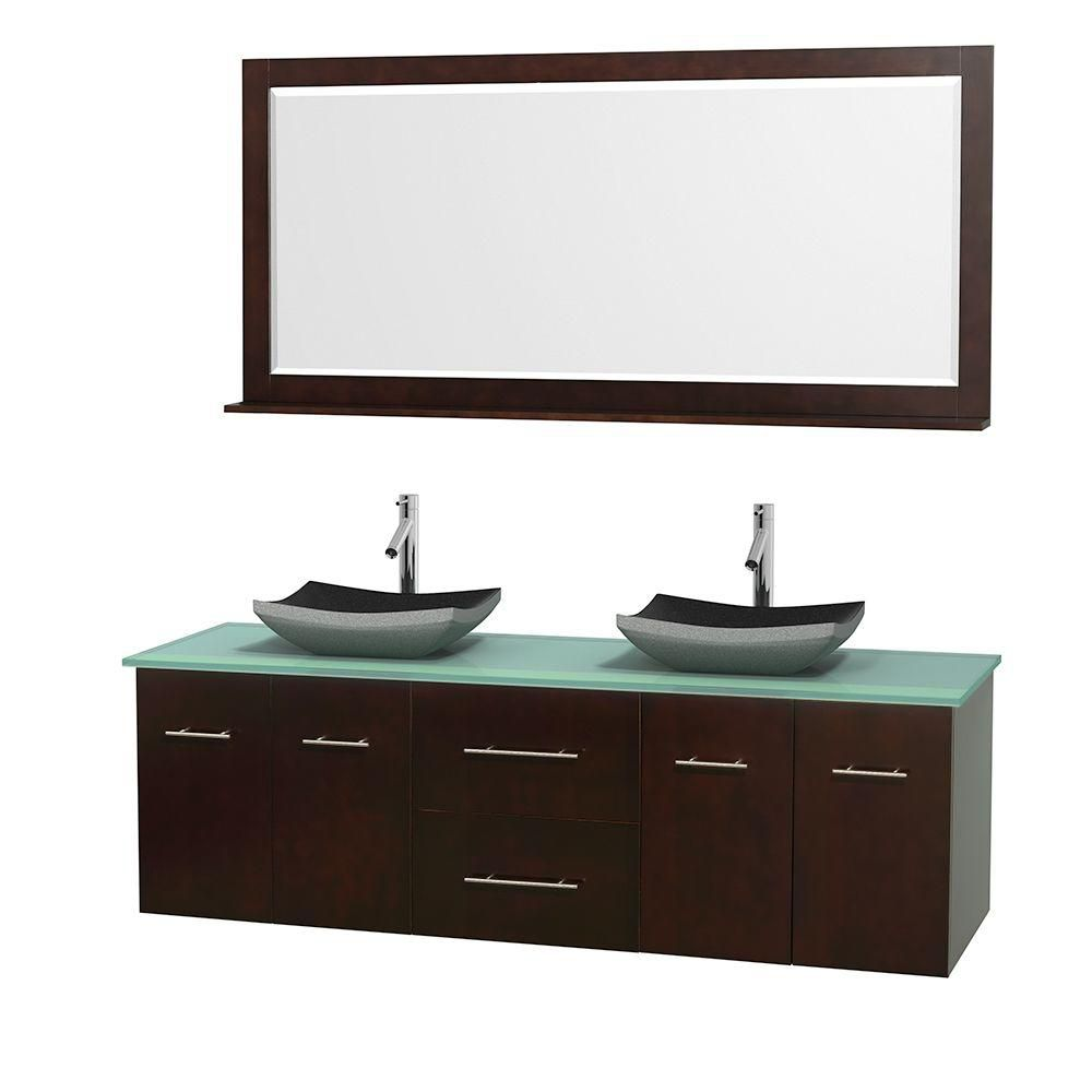 Centra 72-inch W Double Vanity in Espresso with Glass Top with Black Basins and Mirror
