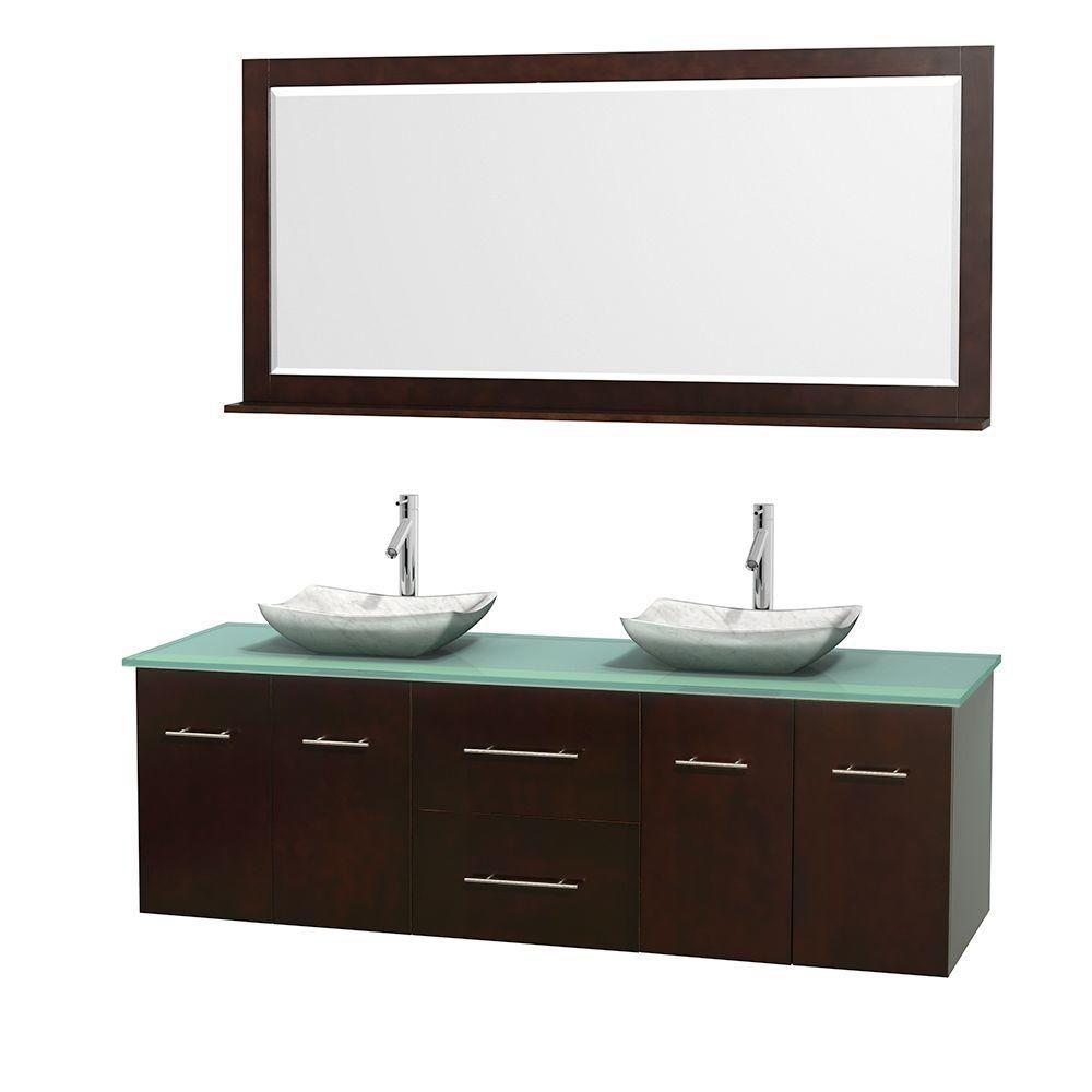 Meuble double Centra 72 po. espresso, comptoir verre vert, lavabos blanc Carrare, miroir 70 po.