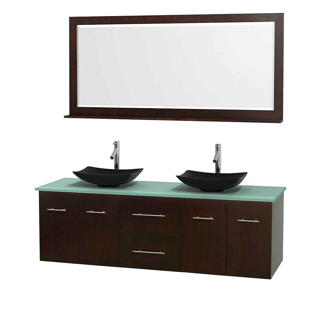 Meuble double Centra 72 po. espresso, comptoir verre vert, lavabos granit noir, miroir 70 po.