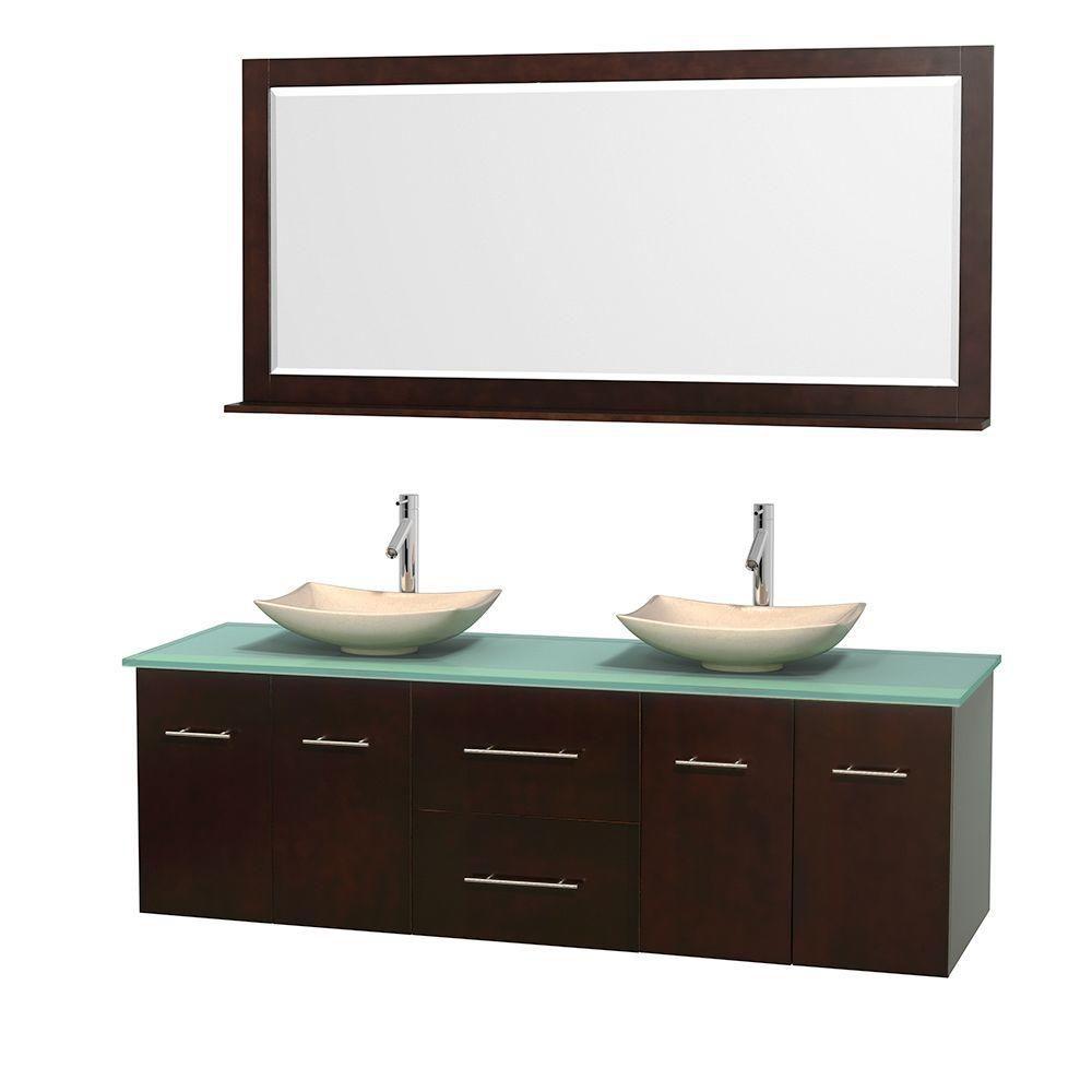Meuble double Centra 72 po. espresso, comptoir verre vert, lavabos ivoire, miroir 70 po.