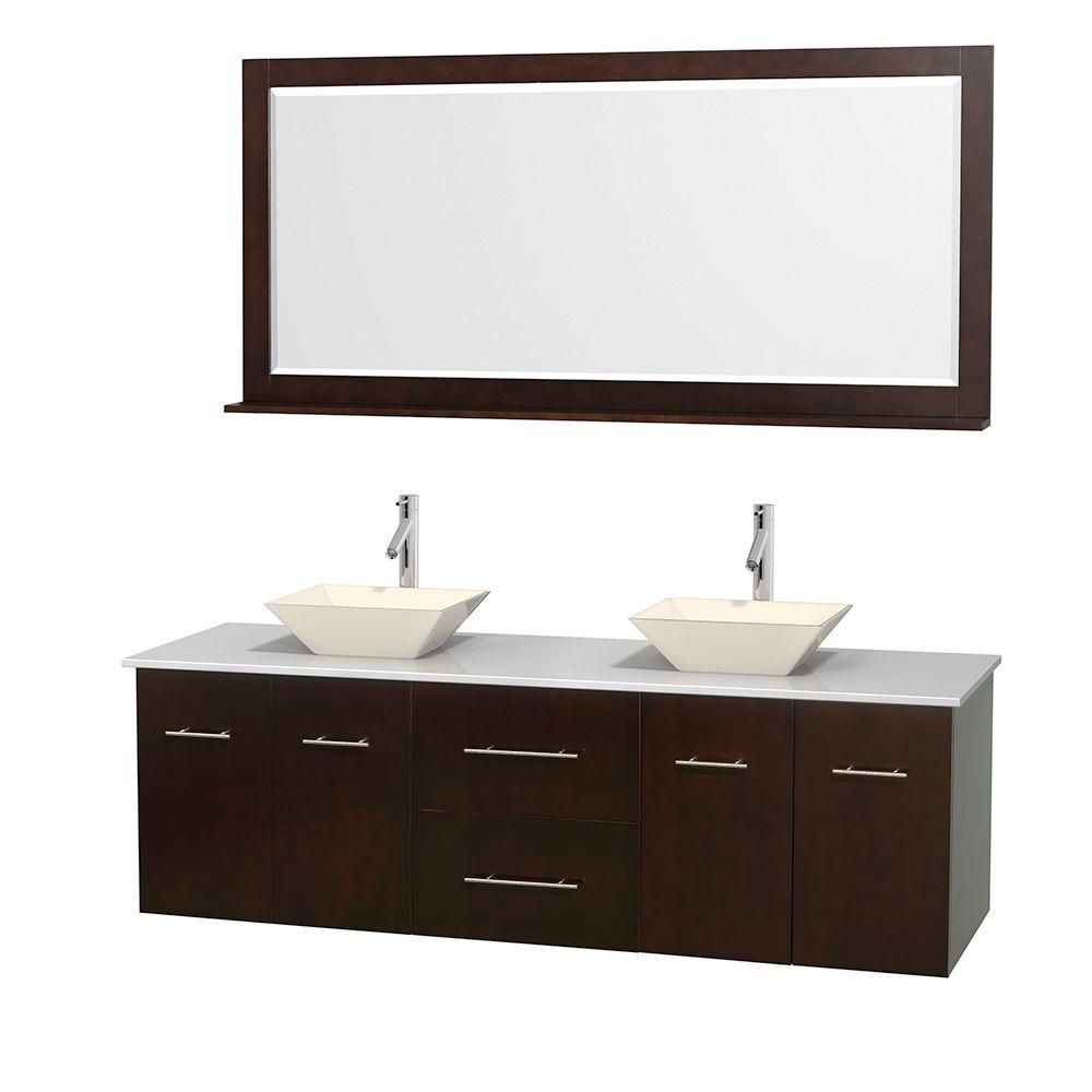 Centra 72-inch W Double Vanity in Espresso with Solid Top with Bone Basins and Mirror