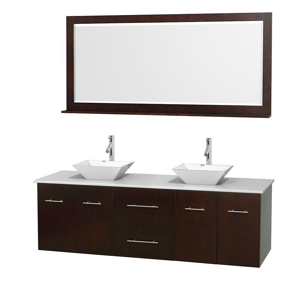 Centra 72-inch W Double Vanity in Espresso with Solid Top with White Basins and Mirror