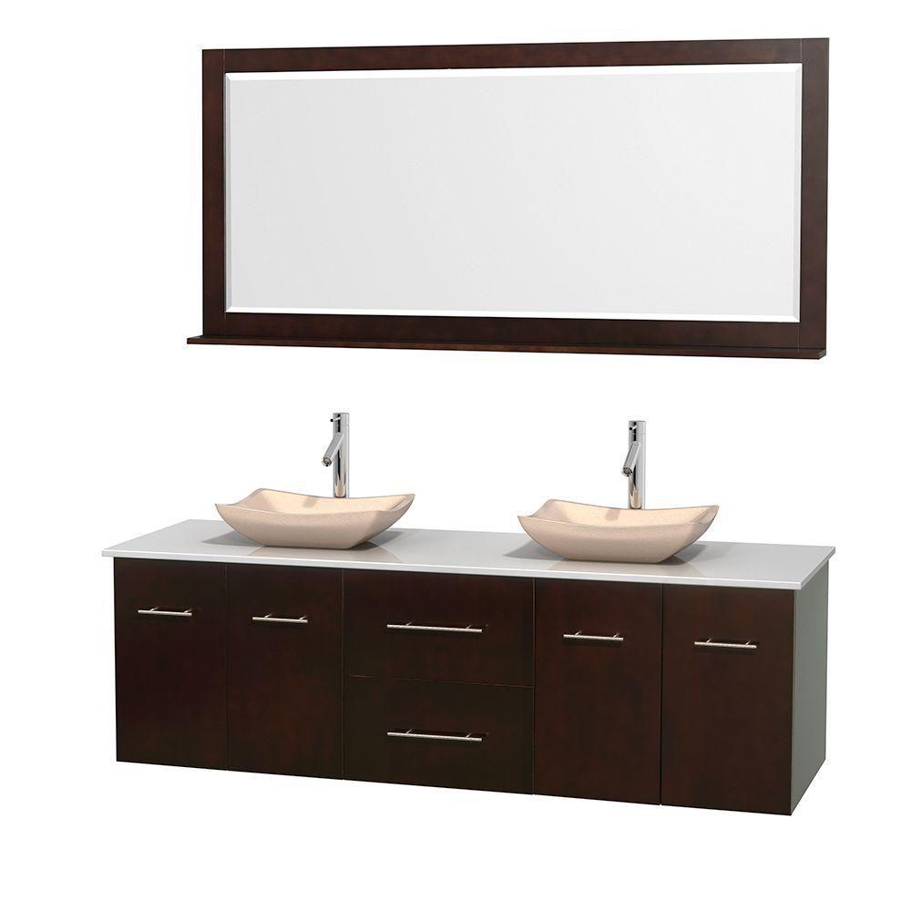 Meuble double Centra 72 po. espresso, comptoir solide, lavabos ivoire, miroir 70 po.