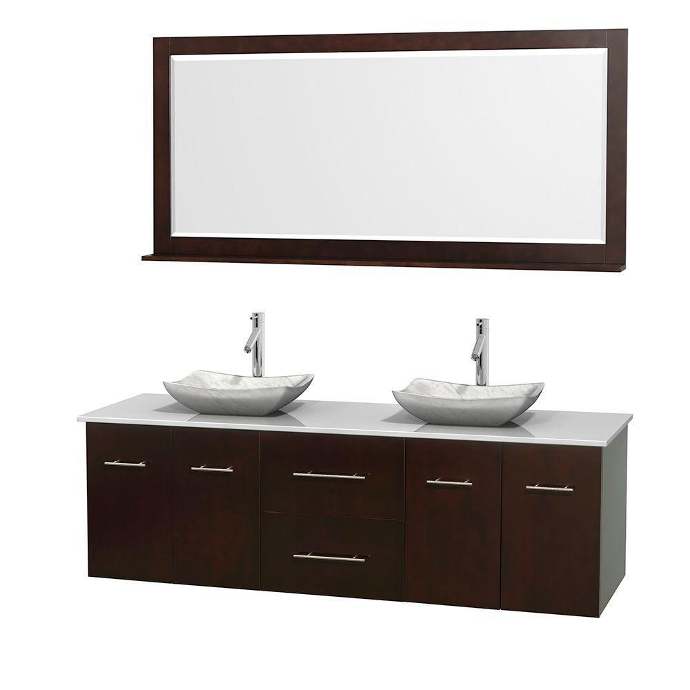 Meuble double Centra 72 po. espresso, comptoir solide, lavabos blanc Carrare, miroir 70 po.