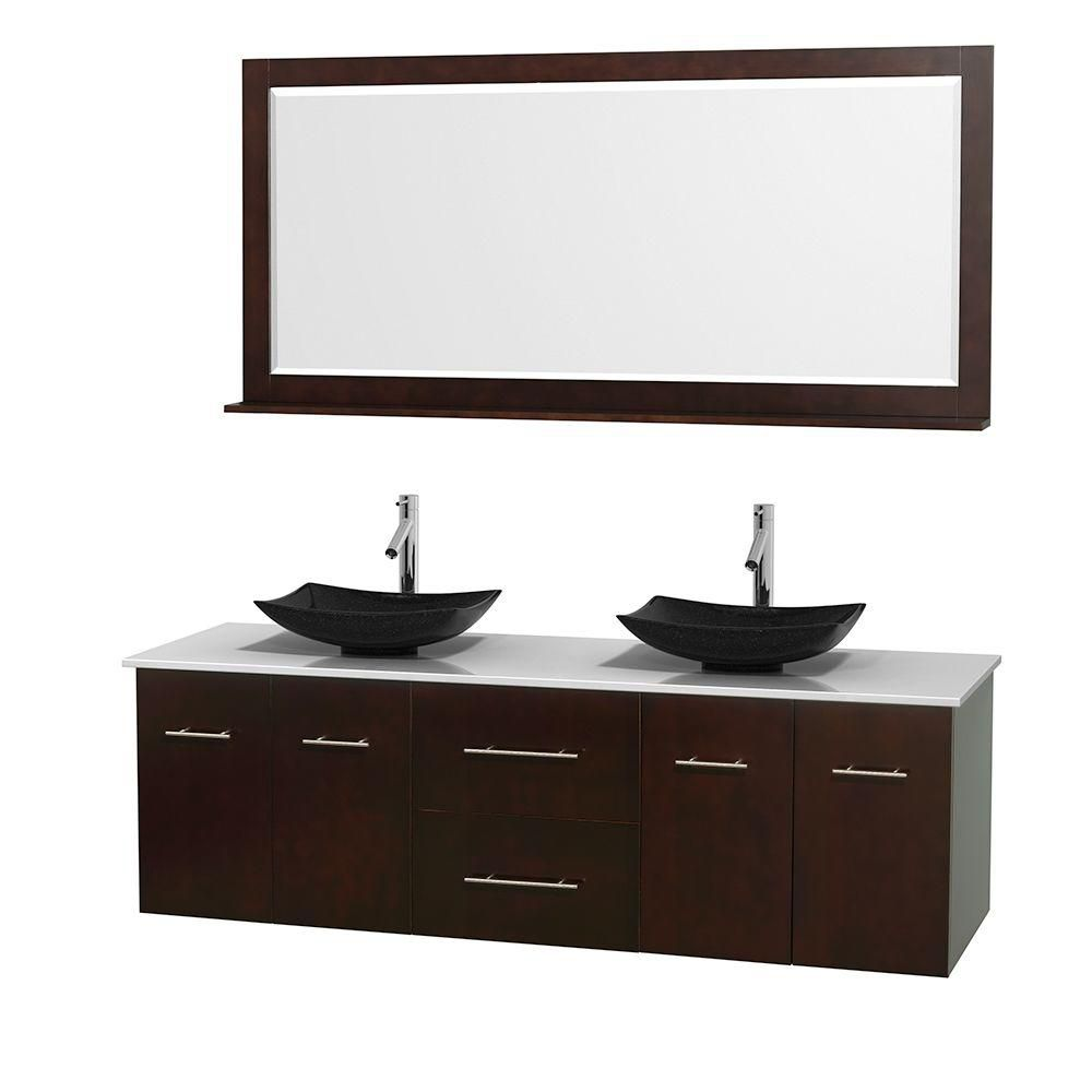 Centra 72-inch W Double Vanity in Espresso with Solid Top with Black Basins and Mirror