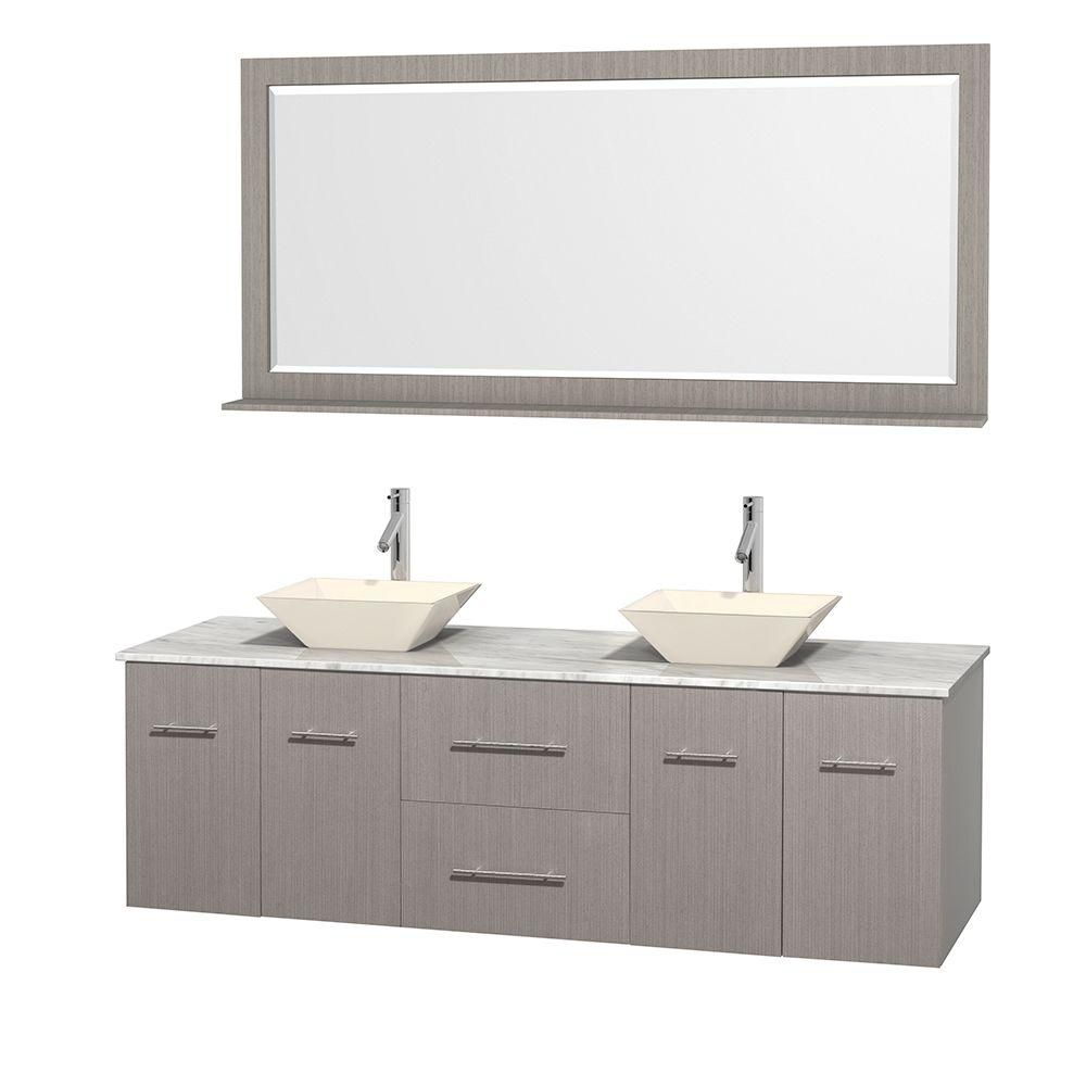 Centra 72-inch W Double Vanity in Grey Oak with White Top with Bone Basins and Mirror