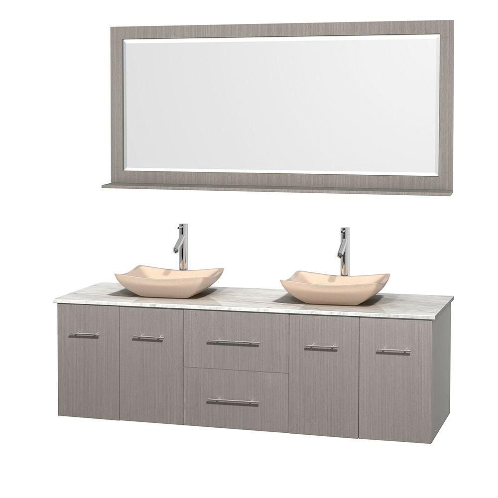 Centra 72-inch W Double Vanity in Grey Oak with White Top with Ivory Basins and Mirror