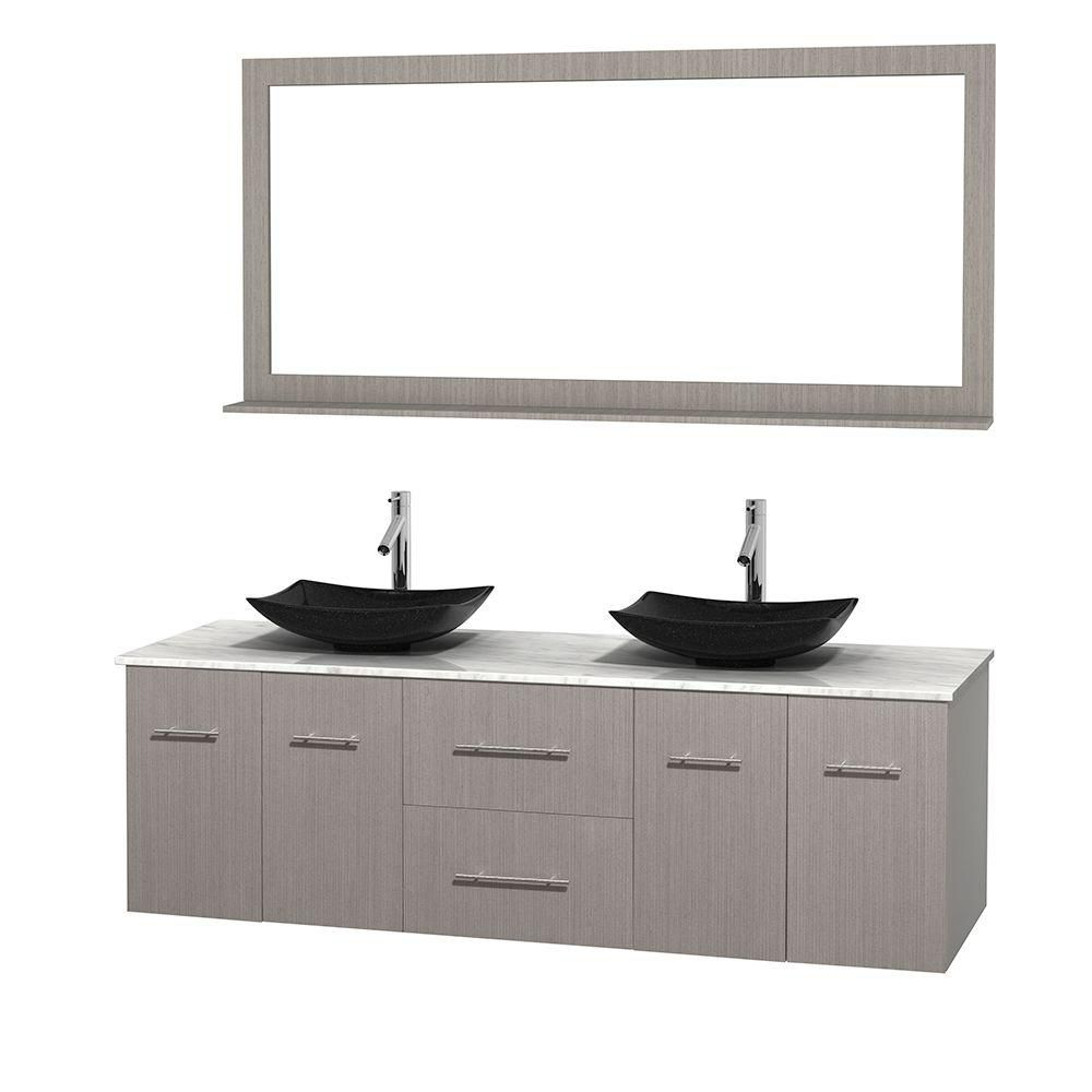 Centra 72-inch W Double Vanity in Grey Oak with White Top with Black Basins and Mirror