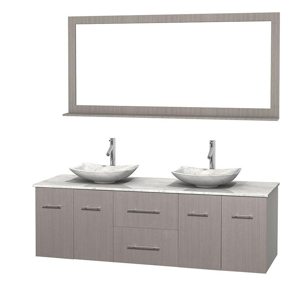 Meuble double Centra 72 po. chêne gris, comptoir blanc Carrare, lavabos blanc Carrare, miroir 70 ...