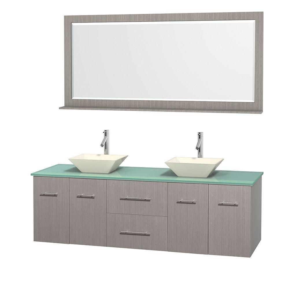 Centra 72-inch W Double Vanity in Grey Oak with Glass Top with Bone Basins and Mirror