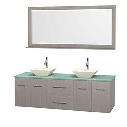 Wyndham Collection Meuble double Centra 72 po. chêne gris, comptoir verre vert, lavabos porcelaine bone, miroir 70 po.