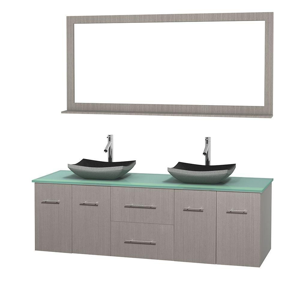 Centra 72-inch W Double Vanity in Grey Oak with Glass Top with Black Basins and Mirror