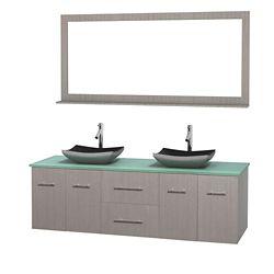 Wyndham Collection Meuble double Centra 72 po. chêne gris, comptoir verre vert, lavabos granit noir, miroir 70 po.