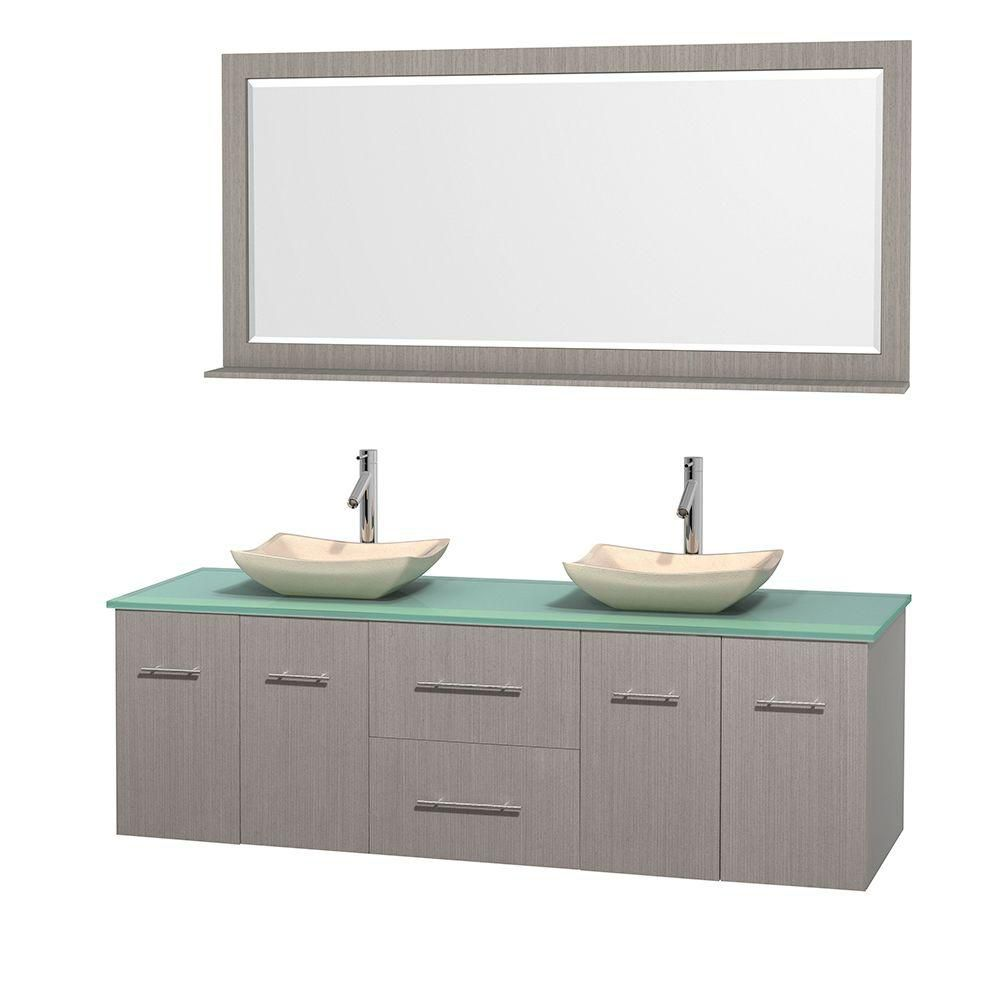 Centra 72-inch W Double Vanity in Grey Oak with Glass Top with Ivory Basins and Mirror
