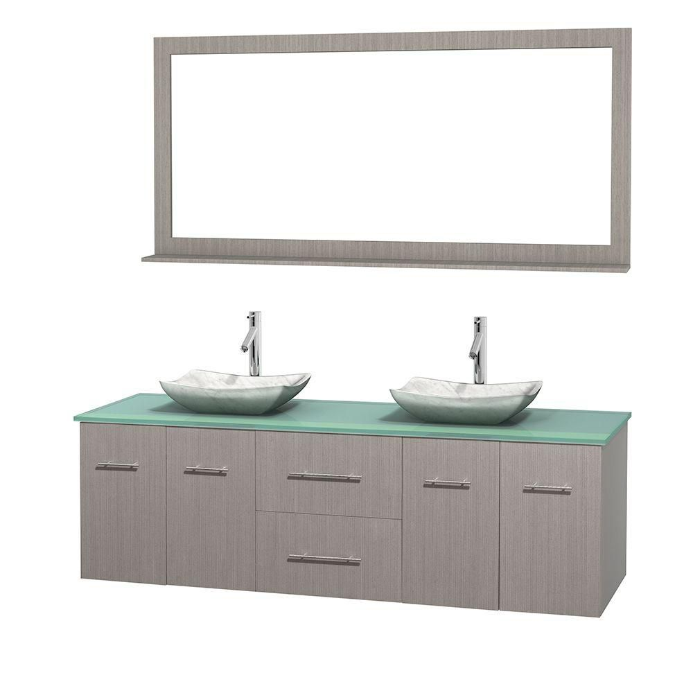 Centra 72-inch W Double Vanity in Grey Oak with Glass Top with White Basins and Mirror