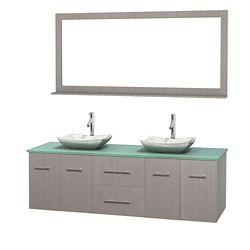 Wyndham Collection Meuble double Centra 72 po. chêne gris, comptoir verre vert, lavabos blanc Carrare, miroir 70 po.