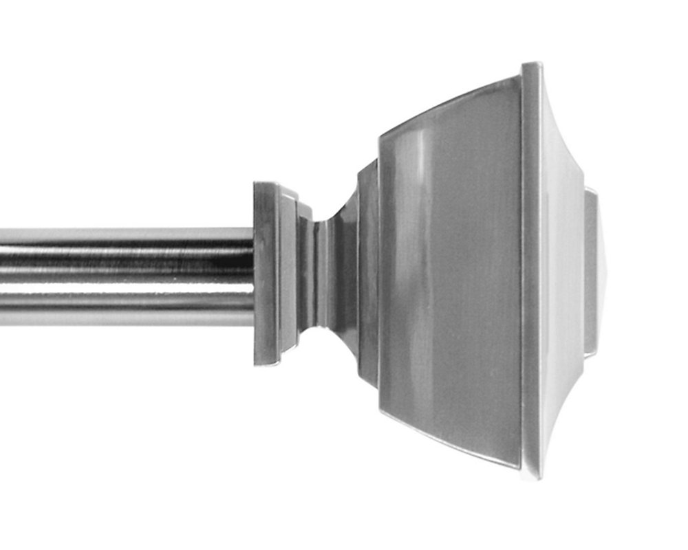 72-inch to 144-inch 1-inch Curtain Rod Kit in Brushed Nickel with Classic Square Finial