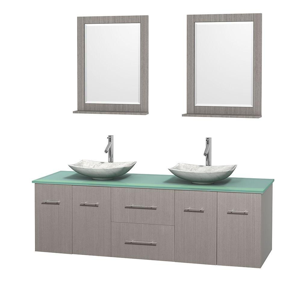 Centra 72-inch W Double Vanity in Grey Oak with Glass Top with White Basins and Mirrors