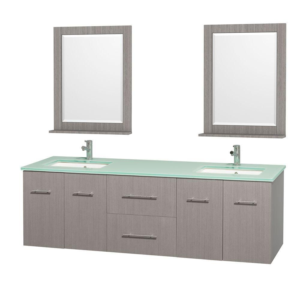 Centra 72-inch W Double Vanity in Grey Oak with Glass Top with Square Basins and Mirrors