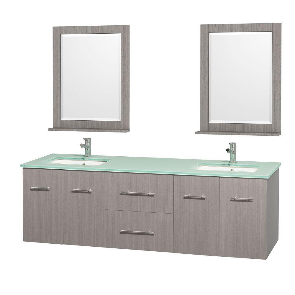 Meuble double Centra 72 po. chêne gris, comptoir verre vert, lavabo carré, miroir 24 po.