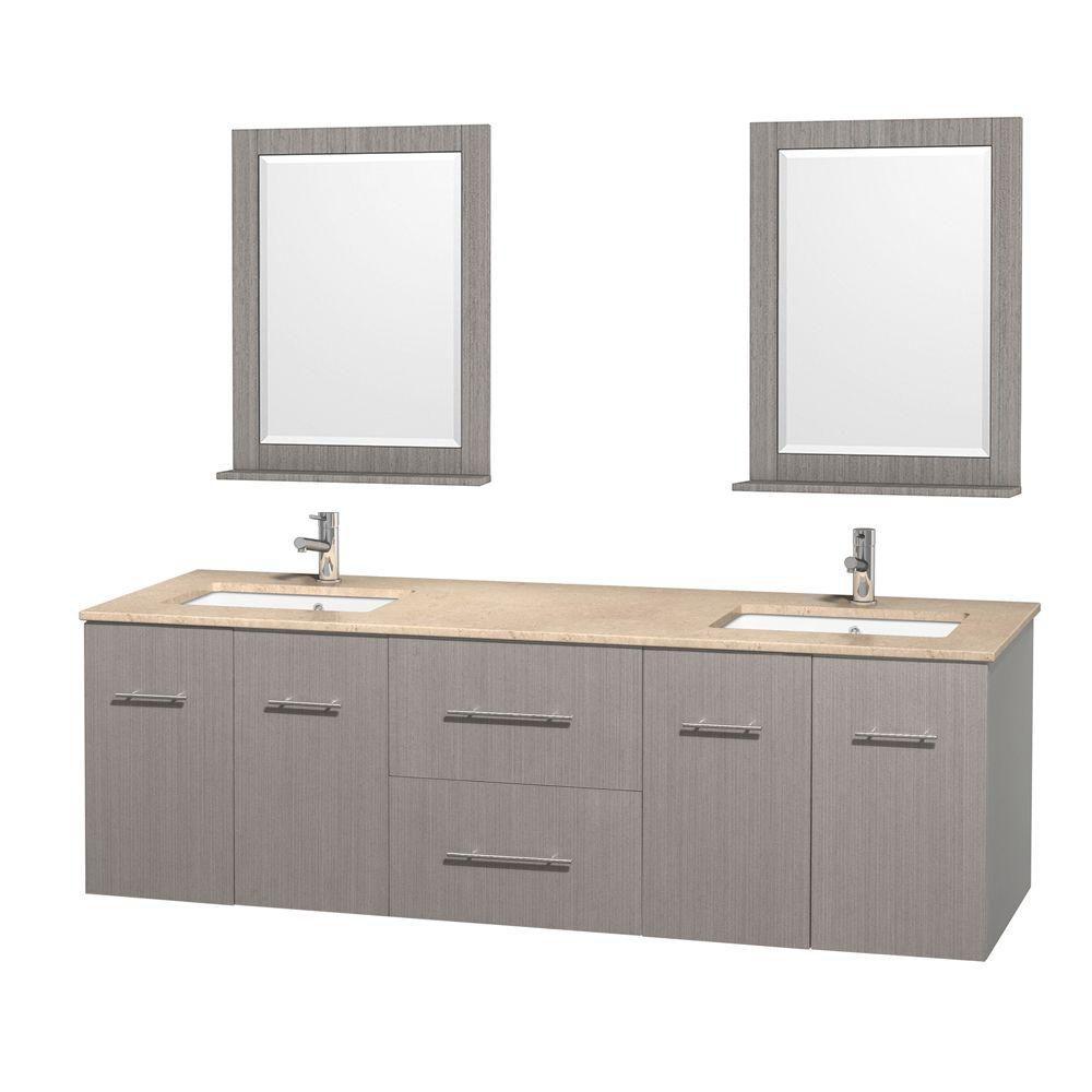 Meuble double Centra 72 po. chêne gris, comptoir marbre ivoire, lavabo carré, miroir 24 po.