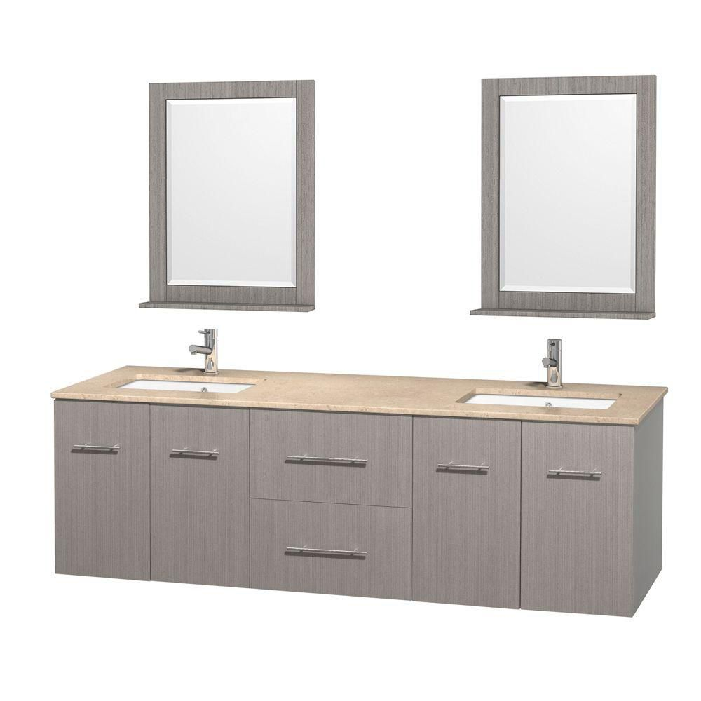 Centra 72-inch W Double Vanity in Grey Oak with Marble Top in Ivory with Square Basins and Mirror...