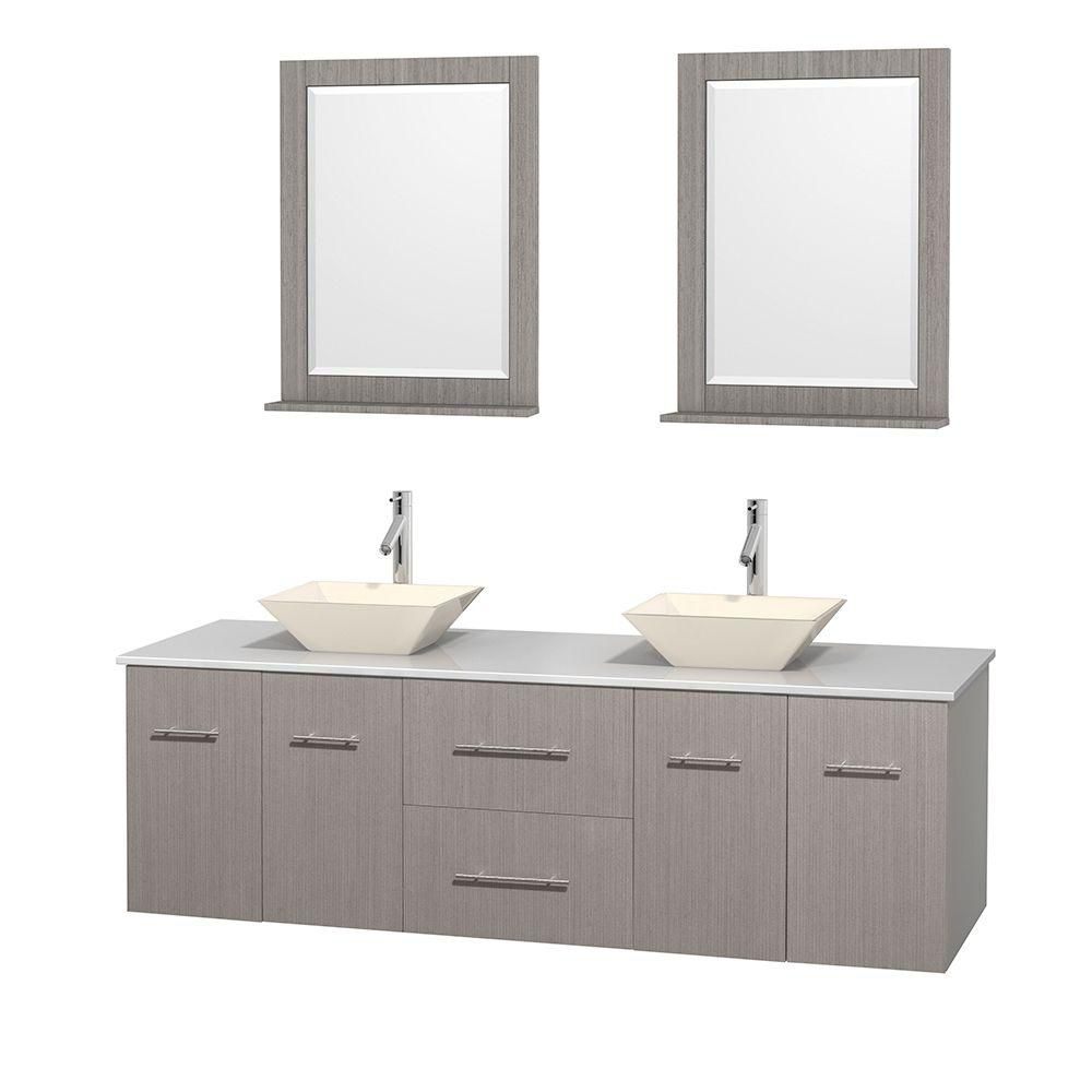 Centra 72 In. Double Vanity in Gray Oak with Solid SurfaceTop with Bone Porcelain Sinks and 24 In. Mirrors WCVW00972DGOWSD2BM24 in Canada