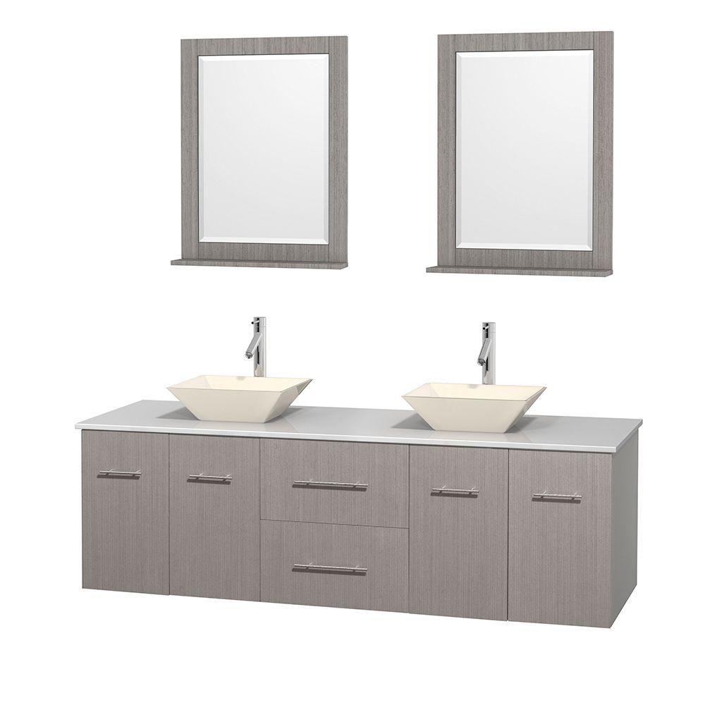 Meuble double Centra 72 po. chêne gris, comptoir solide, lavabos porcelaine bone, miroirs 24 po.
