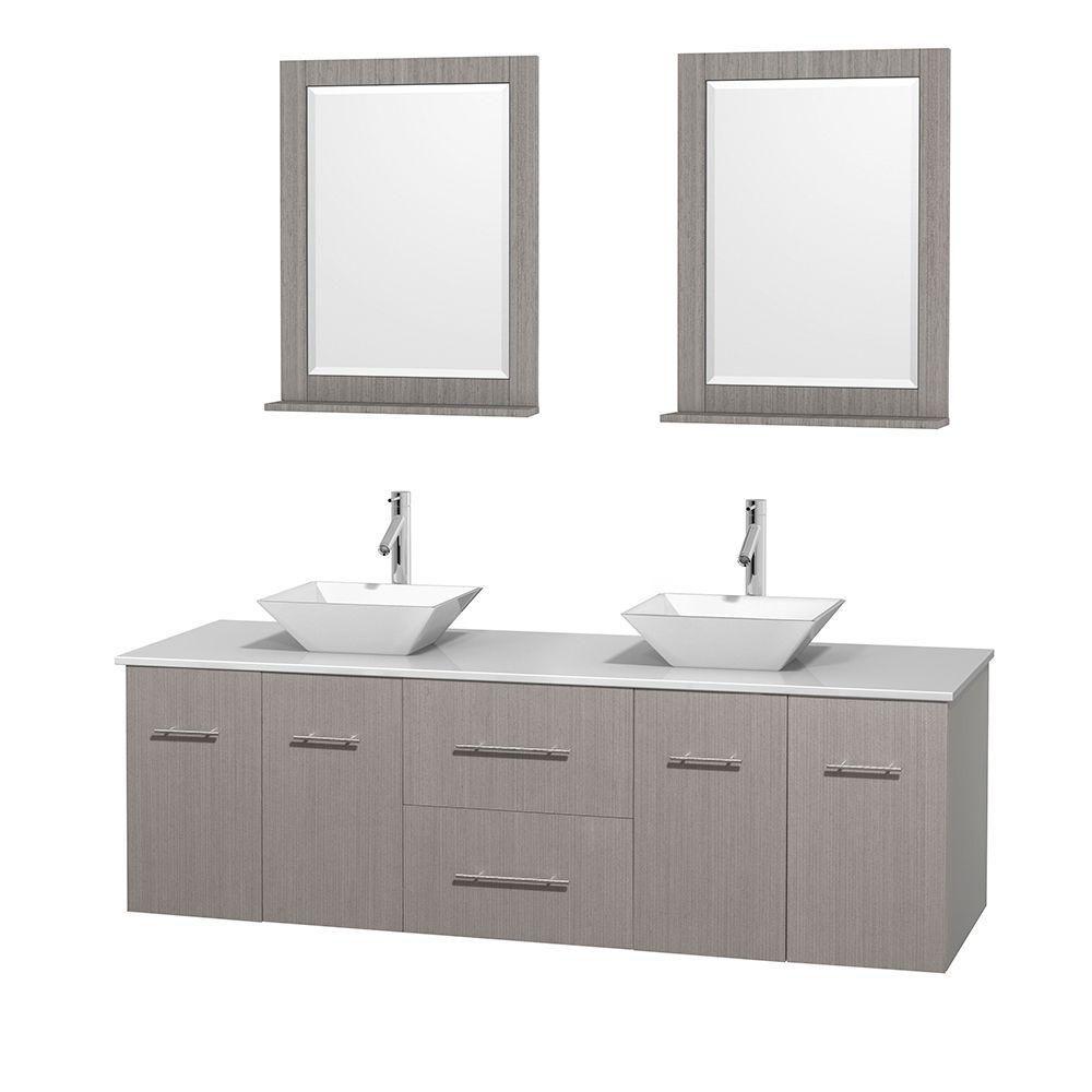 Meuble double Centra 72 po. chêne gris, comptoir solide, lavabos porcelaine blanche, miroirs 24 p...