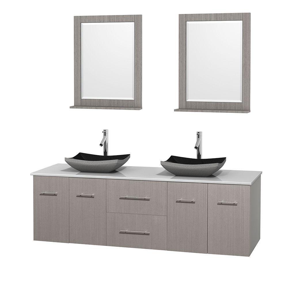 Meuble double Centra 72 po. chêne gris, comptoir solide, lavabos granit noir, miroirs 24 po.