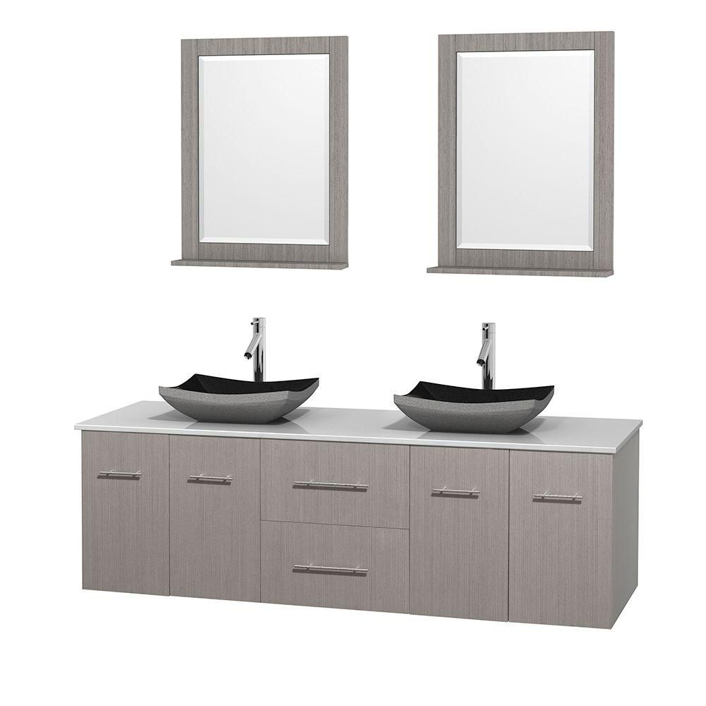 Centra 72-inch W Double Vanity in Grey Oak with Solid Top with Black Basins and Mirrors