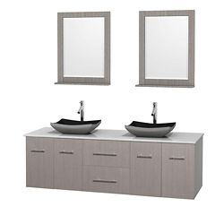 Wyndham Collection Centra 72-inch W 2-Drawer 4-Door Vanity in Grey With Artificial Stone Top in White, Double Basins