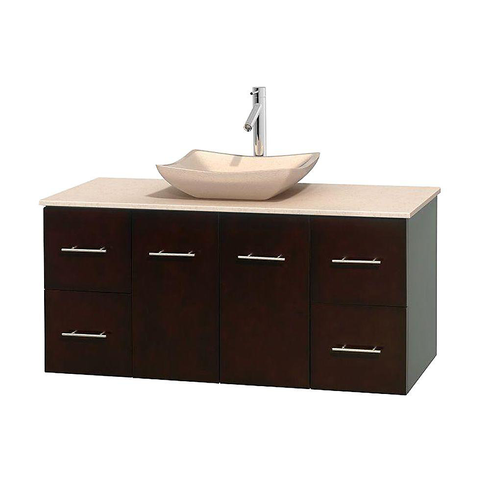 Centra 48-inch W 4-Drawer 2-Door Wall Mounted Vanity in Brown With Marble Top in Beige Tan