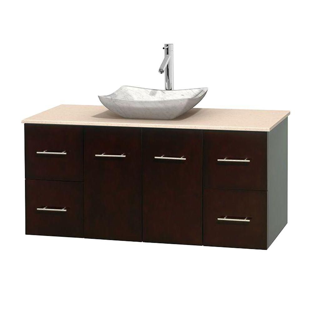 Centra 48-inch W Vanity in Espresso with Marble Top in Ivory with White Basin