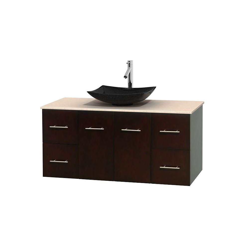 Centra 48-inch W Vanity in Espresso with Marble Top in Ivory with Black Basin