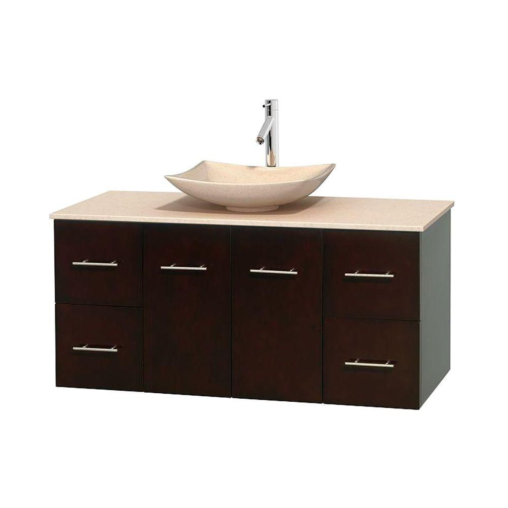 Centra 48-inch W Vanity in Espresso with Marble Top in Ivory with Ivory Basin