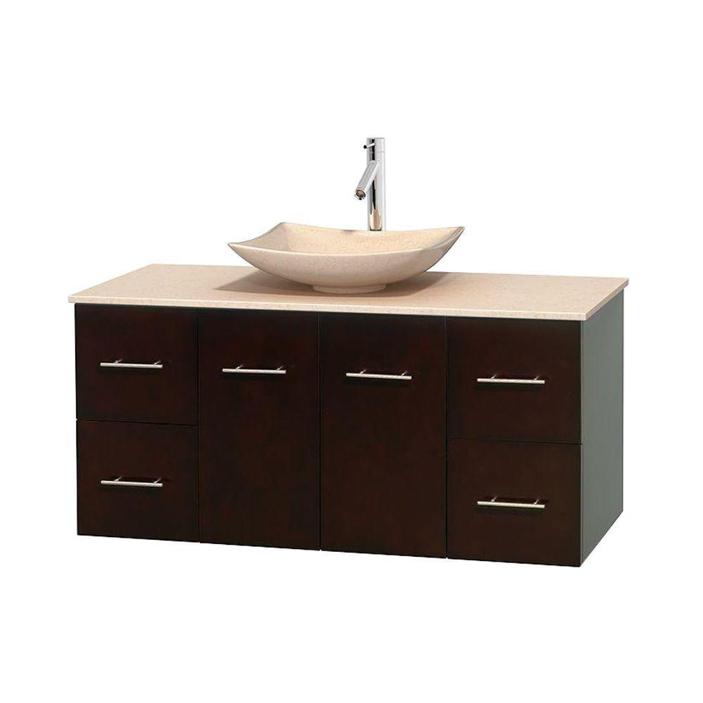 Meuble simple Centra 48 po. espresso, comptoir marbre ivoire, lavabo ivoire, sans miroir
