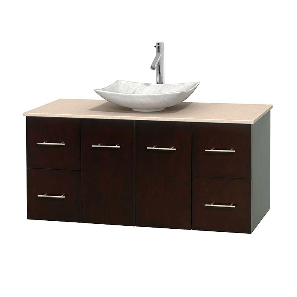 Meuble simple Centra 48 po. espresso, comptoir marbre ivoire, lavabo blanc Carrare, sans miroir