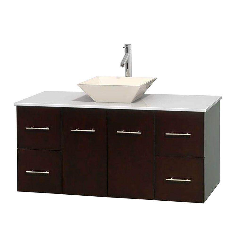 Centra 48-inch W Vanity in Espresso with Solid Top with Bone Basin