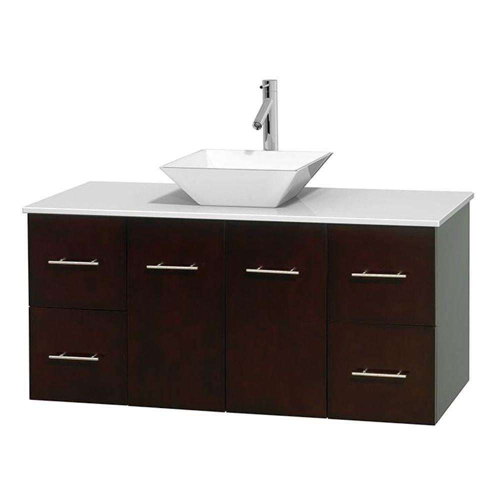 Meuble unique Centra 48 po. espresso, comptoir solide, lavabo porcelaine blanche sans miroir