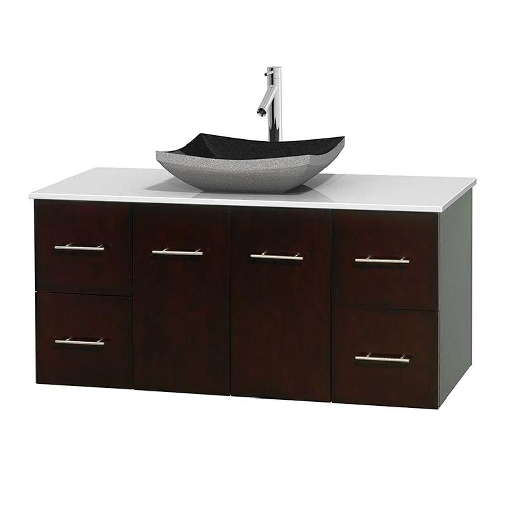 Meuble simple Centra 48 po. espresso, comptoir solide, lavabo granit noir, sans miroir