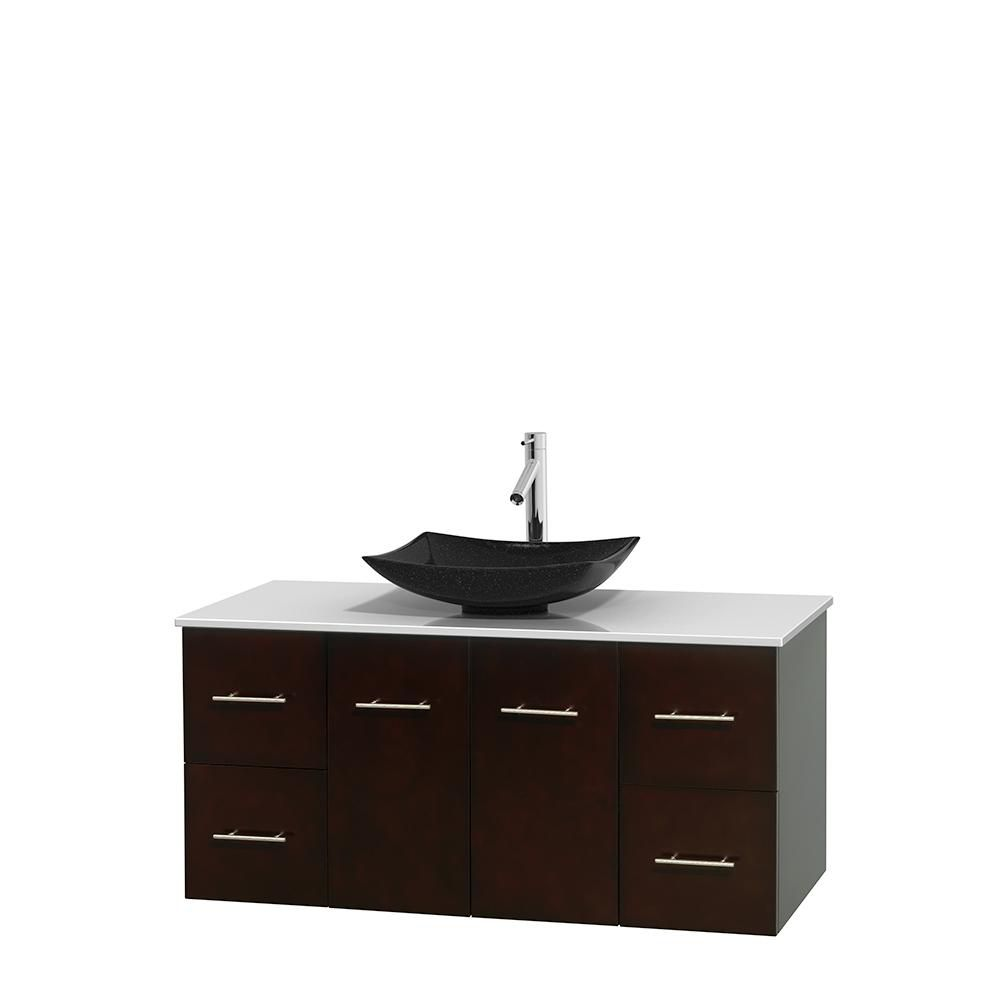 Centra 48-inch W Vanity in Espresso with Solid Top with Black Basin