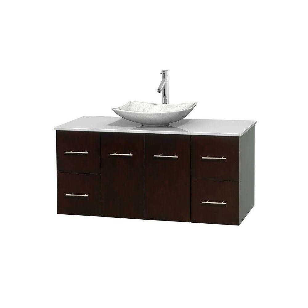 Meuble simple Centra 48 po. espresso, comptoir solide, lavabo blanc Carrare, sans miroir