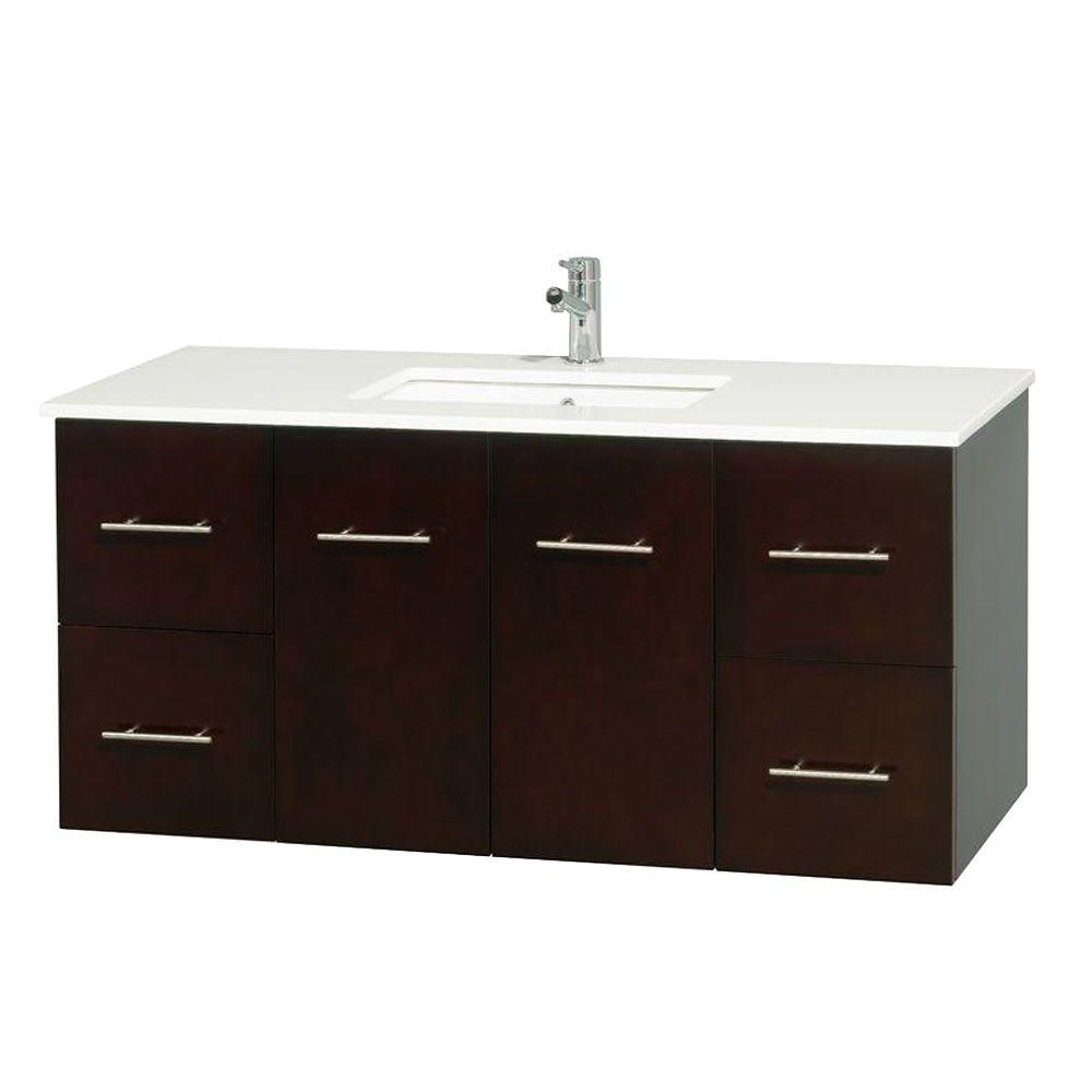 Centra 48-inch W Vanity in Espresso with Solid Top in Green and Square Sink